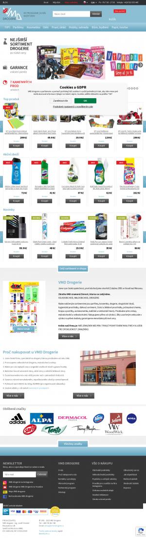 Vzled internetové stránky obchodu VMD Drogerie