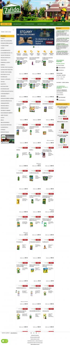 Vzled internetové stránky obchodu Zafido eshop