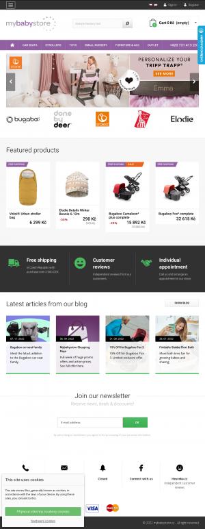 Vzled internetové stránky obchodu Mybabystore