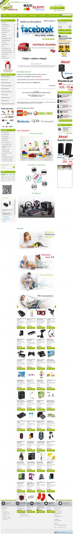 Vzled internetové stránky obchodu E-shop MP3naMiru.cz