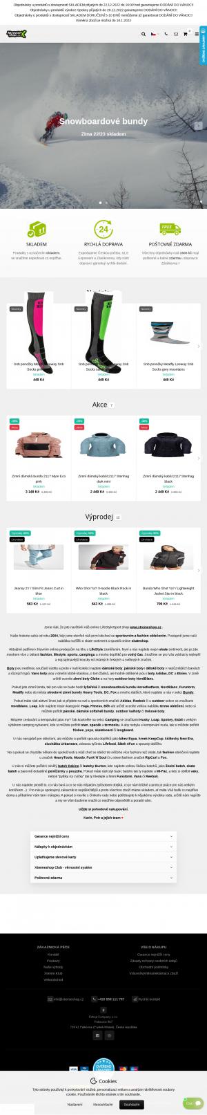 Vzled internetové stránky obchodu Xtremeshop