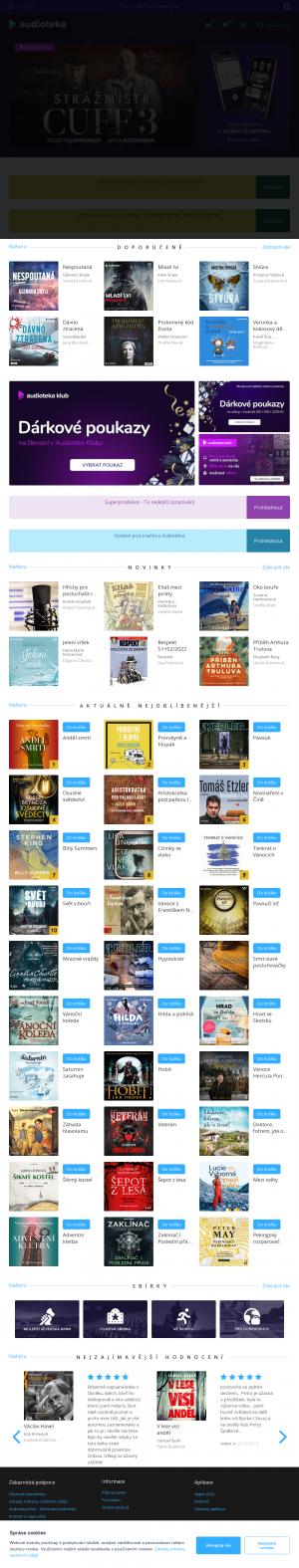 Vzled internetové stránky obchodu Audioteka