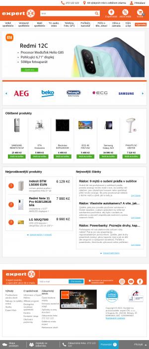 Vzled internetové stránky obchodu Expert elektro