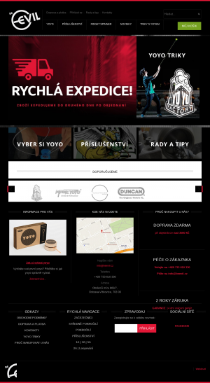 Vzled internetové stránky obchodu Beevil