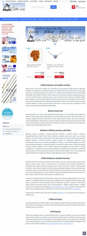 Vzled internetové stránky obchodu Šperky-stříbrné-zlaté
