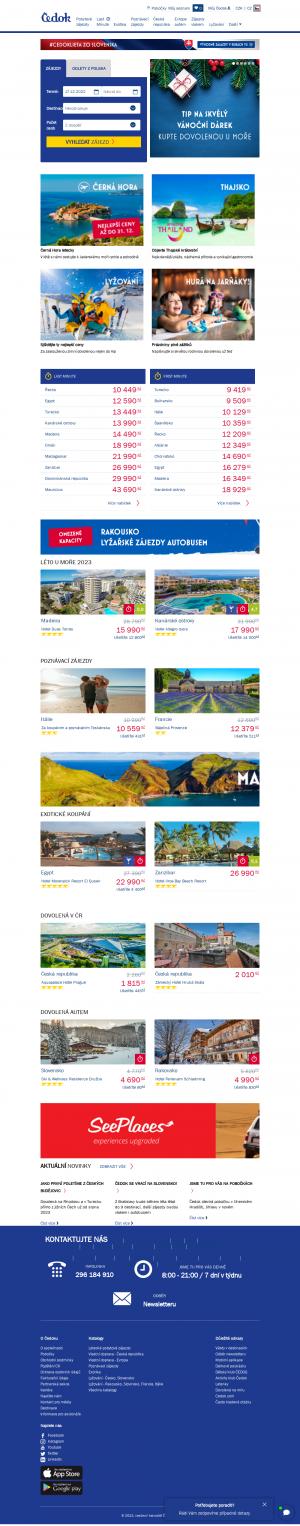 Vzled internetové stránky obchodu Čedok - cestovní kancelář