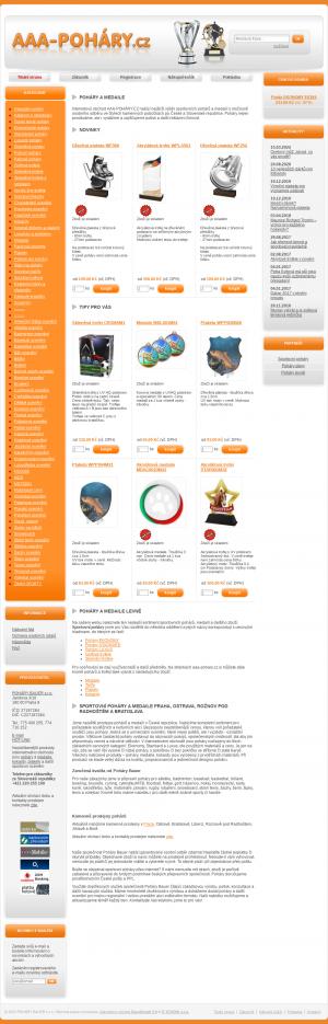 Vzled internetové stránky obchodu AAA Poháry