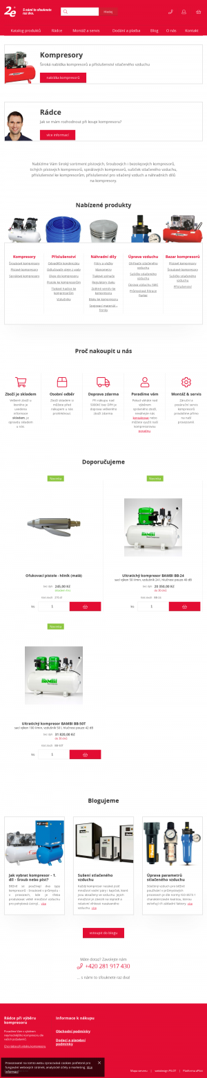 Vzled internetové stránky obchodu 2e kompresory, vše pro stlačený vzduch