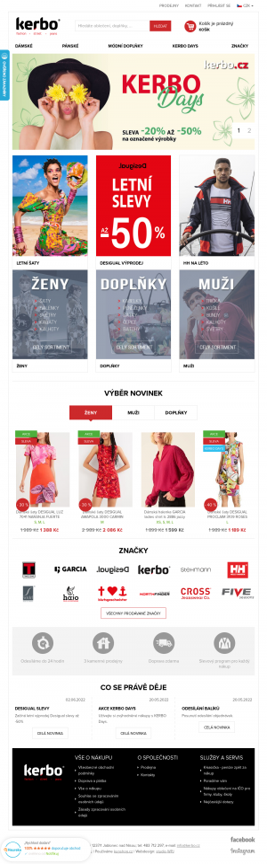 Vzled internetové stránky obchodu KERBO e-shop