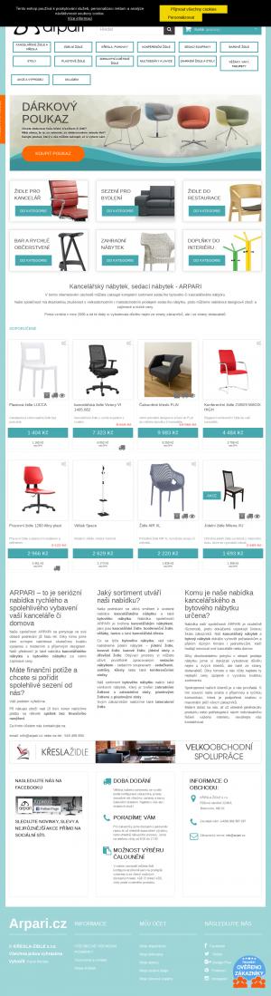 Vzled internetové stránky obchodu Arpari