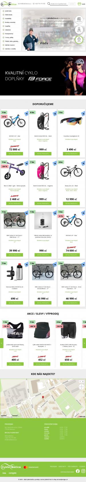 Vzled internetové stránky obchodu Cyklo Bečica