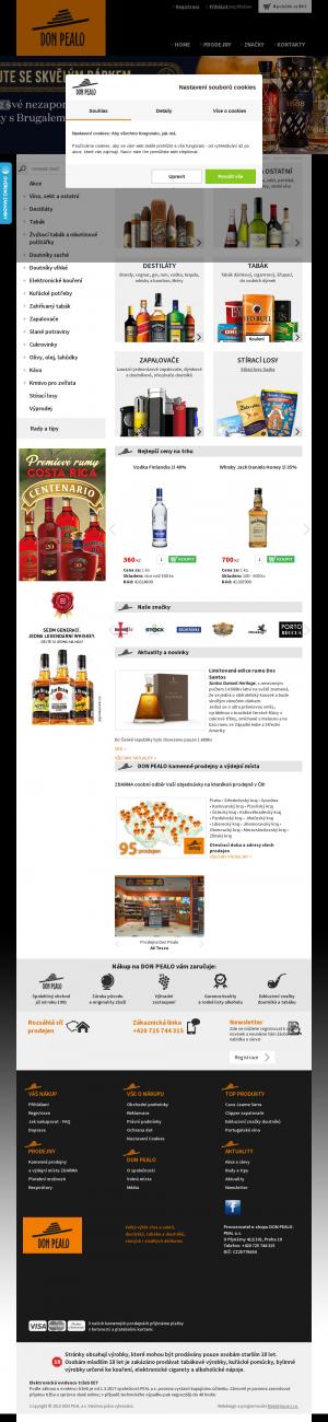 Vzled internetové stránky obchodu DonPealo