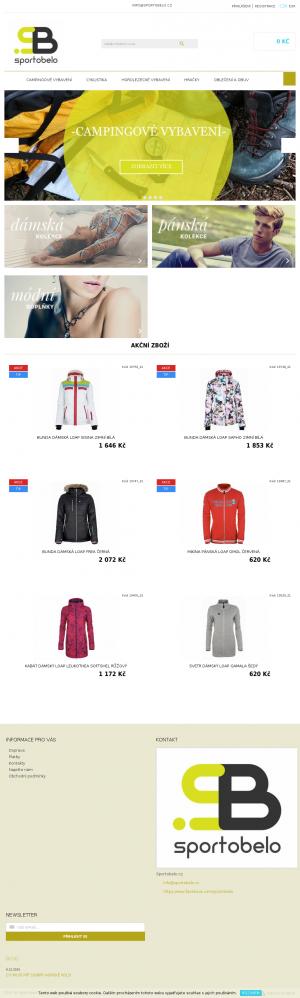 Vzled internetové stránky obchodu Sportobelo.cz