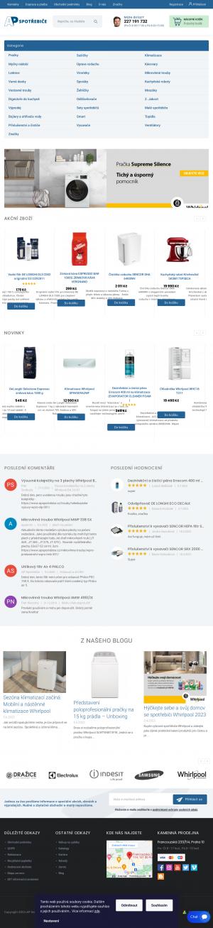 Vzled internetové stránky obchodu Spotřebiče WHIRLPOOL