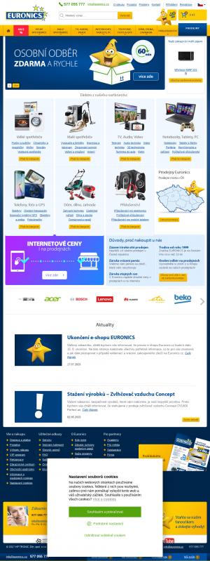 Vzled internetové stránky obchodu Euronics.cz