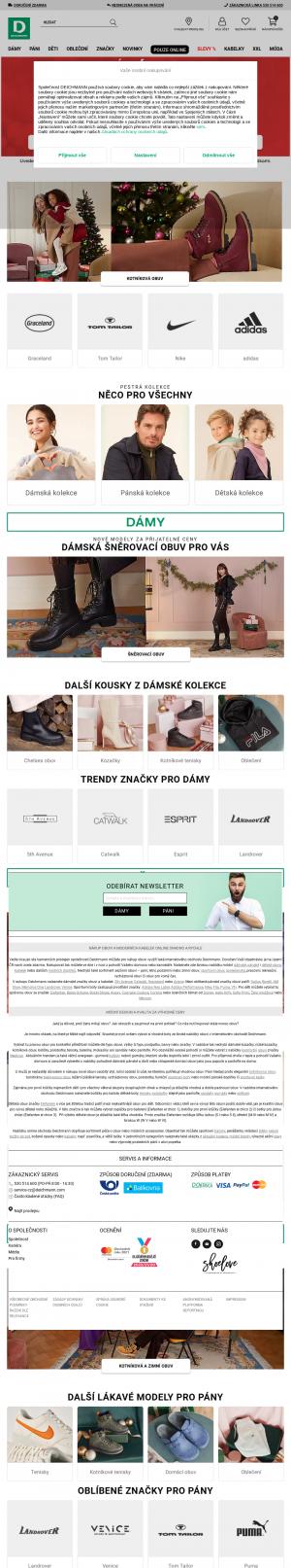 Vzled internetové stránky obchodu Deichmann