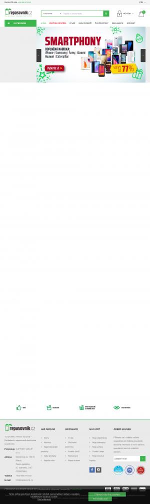 Vzled internetové stránky obchodu Repasovnik.cz