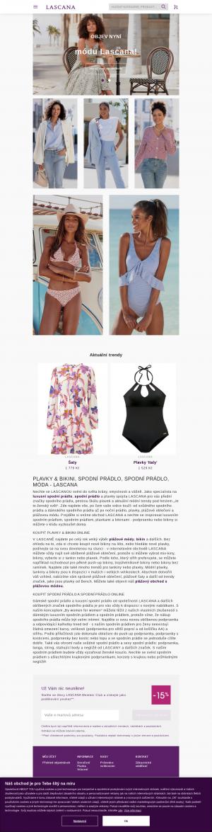 Vzled internetové stránky obchodu Lascana