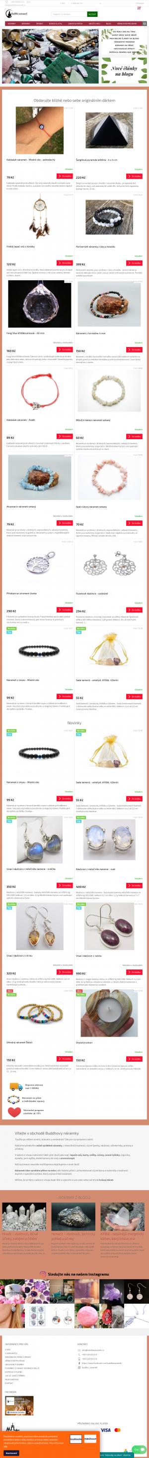 Vzled internetové stránky obchodu Buddha náramek