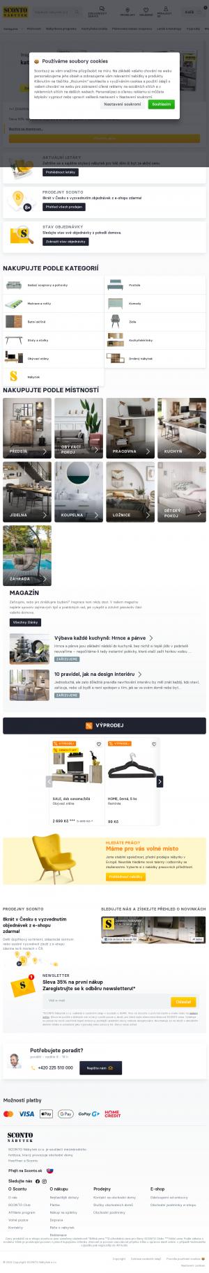Vzled internetové stránky obchodu SCONTO nábytek