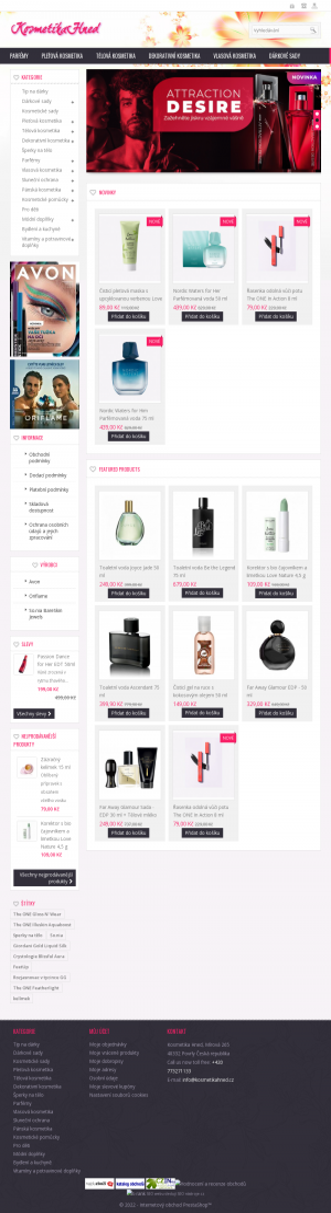 Vzled internetové stránky obchodu Kosmetika Hned