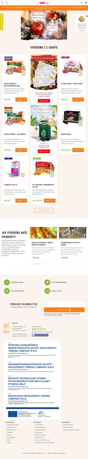Vzled internetové stránky obchodu TEREZIA