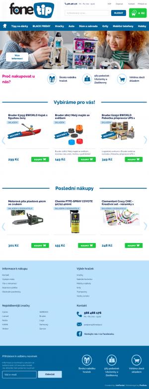 Vzled internetové stránky obchodu Fonetip