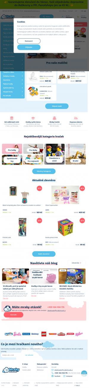 Vzled internetové stránky obchodu MrakyHracek