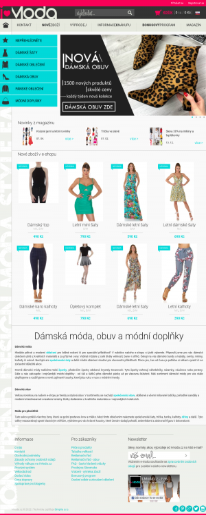 Vzled internetové stránky obchodu iModa