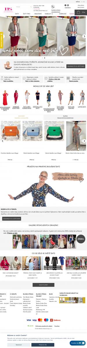 Vzled internetové stránky obchodu Retro šaty Blanka Straka