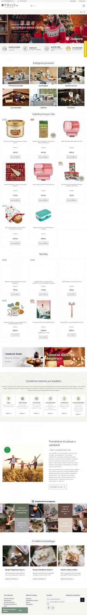 Vzled internetové stránky obchodu FOLLY