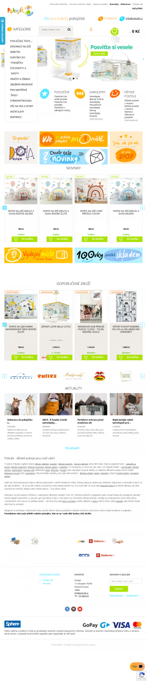 Vzled internetové stránky obchodu Pokojík