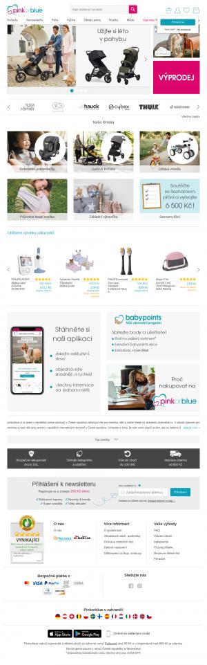 Vzled internetové stránky obchodu Pinkorblue