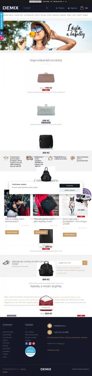 Vzled internetové stránky obchodu DEMIX, spol. s r.o.