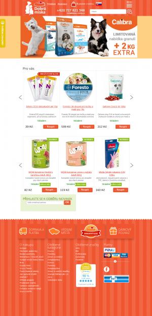 Vzled internetové stránky obchodu Dobrá miska