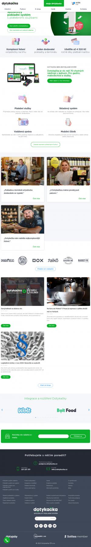 Vzled internetové stránky obchodu Dotykačka