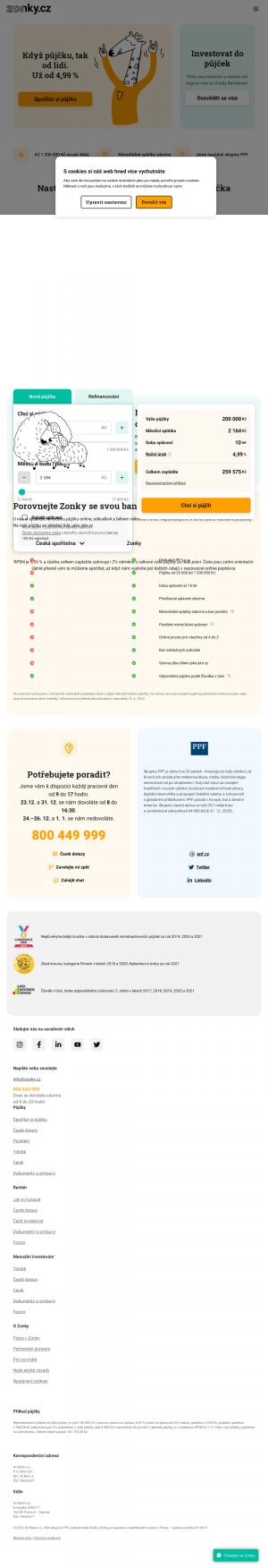 Vzled internetové stránky obchodu Zonky.cz