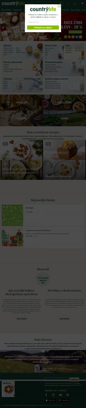 Vzled internetové stránky obchodu CountryLife.cz