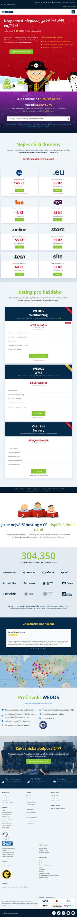 Vzled internetové stránky obchodu Wedos