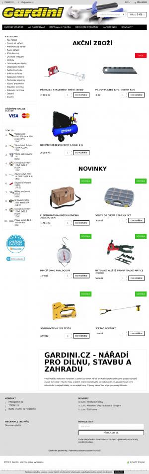 Vzled internetové stránky obchodu Gardini