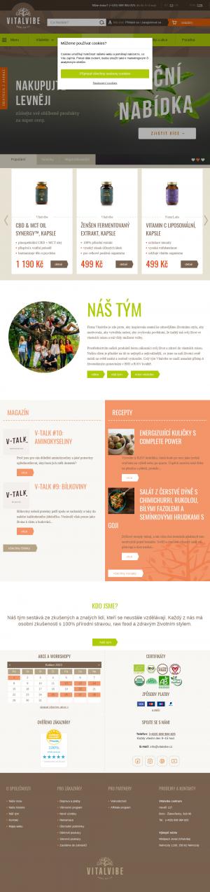 Vzled internetové stránky obchodu Vitalvibe