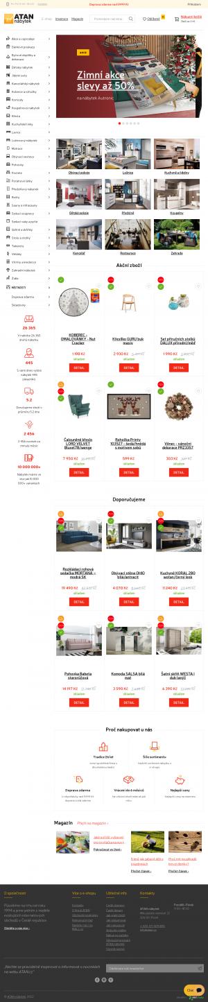 Vzled internetové stránky obchodu ATAN nábytek