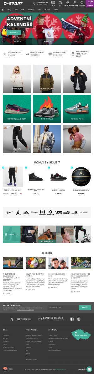 Vzled internetové stránky obchodu D-Sport