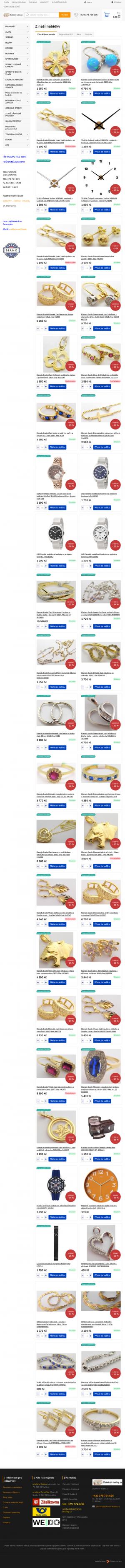 Vzled internetové stránky obchodu Zlatnictví - hodiny - diamanty Miroslava Budínová