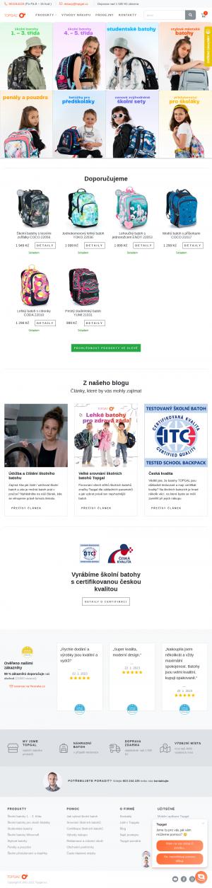 Vzled internetové stránky obchodu Topgal