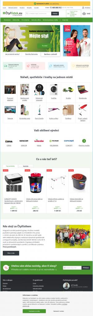 Vzled internetové stránky obchodu Ctyrlistek.eu