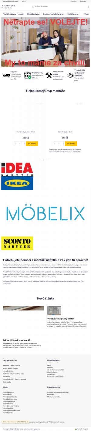 Vzled internetové stránky obchodu IN-Dekor nábytek