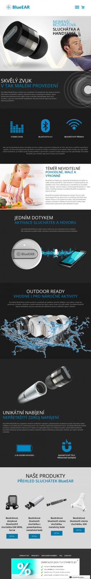 Vzled internetové stránky obchodu BlueEAR