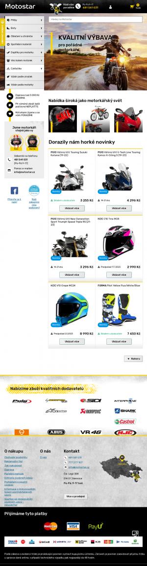 Vzled internetové stránky obchodu Motostar.cz