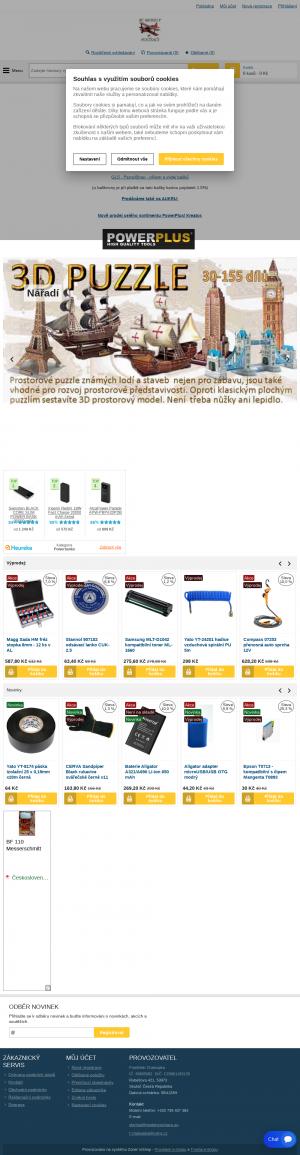 Vzled internetové stránky obchodu modelypočítače